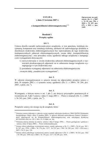 USTAWA z dnia 13 kwietnia 2007 r. o kompatybilności ...