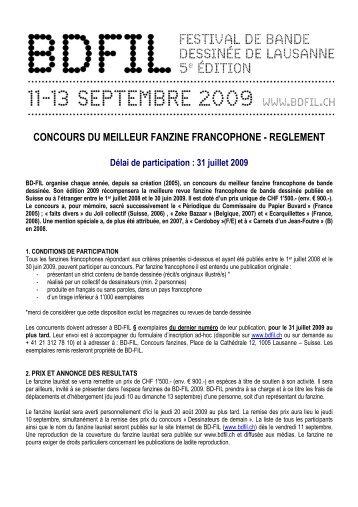 concours du meilleur fanzine francophone - reglement - BD Fil