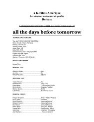 all the days before tomorrow - K-Films Amérique