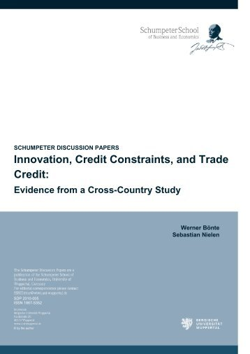 Innovation, Credit Constraints, and Trade Credit: Evidence from a ...