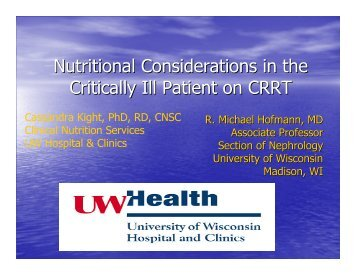 Nutritional Considerations in the Critically Ill Patient on ... - WiSPEN