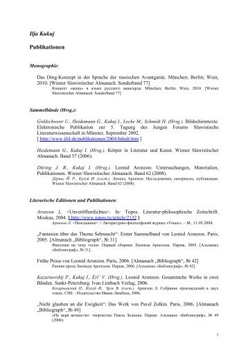 Ilja Kukuj Publikationen - Institut für Slavische Philologie