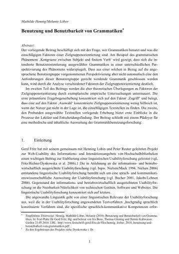 Benutzung und Benutzbarkeit von Grammatiken - Festschrift Gerd Fritz