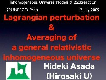Lagrange perturbation & Averaging of a general relativistic ...