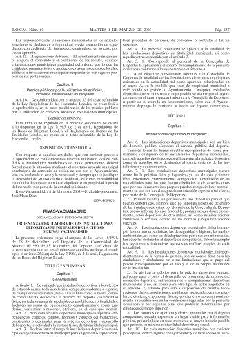 Ordenanza reguladora de las Instalaciones Deportivas Municipales
