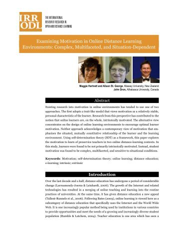 Examining Motivation in Online Distance Learning ... - ERIC