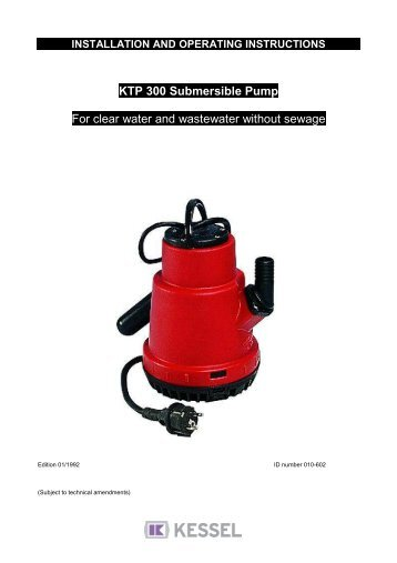 KESSEL KTP 500 Submersible Pump with lateral and vertical outlet ...