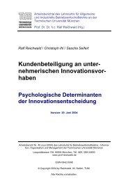 Kundenbeteiligung an unter- nehmerischen Innovationsvor- haben