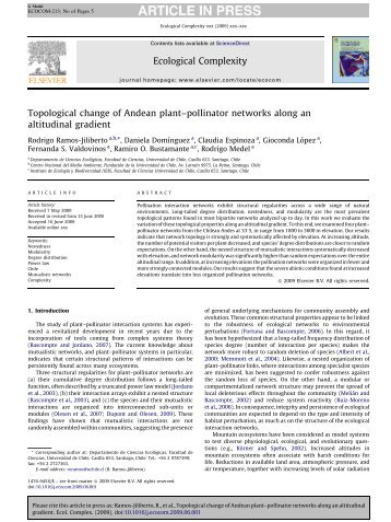 pollinator networks along an altitudinal gradient - Instituto de ...