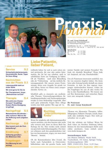 Ausgabe 1 / 2003 - Onkologische Schwerpunktpraxis Darmstadt