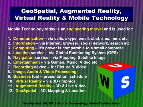 GeoSpatial, Augmented Reality, Virtual Reality & Mobile Technology ...