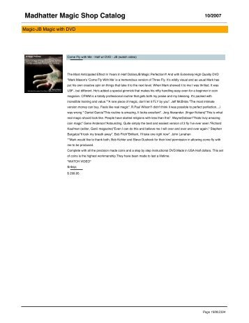 Madhatter Magic Shop Catalog - Magic Shops