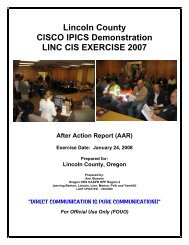Lincoln County CISCO IPICS Demonstration After Action Report (AAR)
