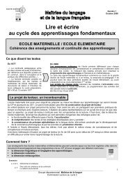 Lire et écrire au cycle des apprentissages fondamentaux - IEN Orsay