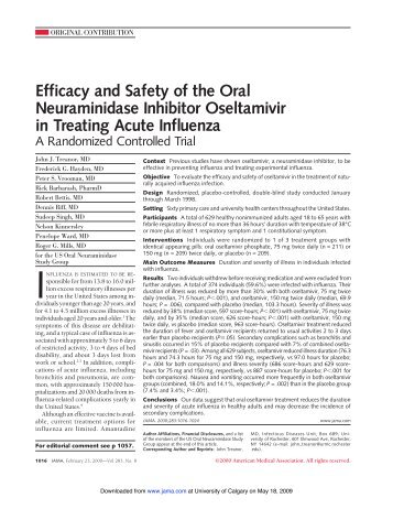 Efficacy and Safety of the Oral Neuraminidase Inhibitor Oseltamivir ...
