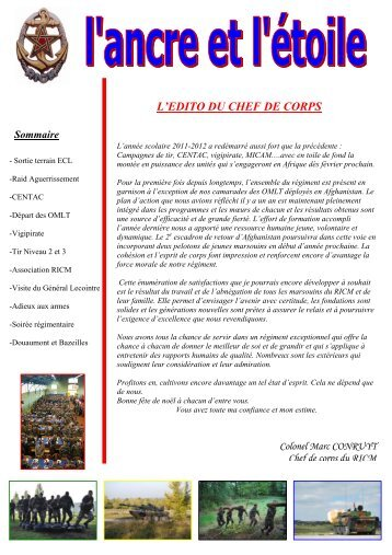 L'EDITO DU CHEF DE CORPS - Anciens du RICM