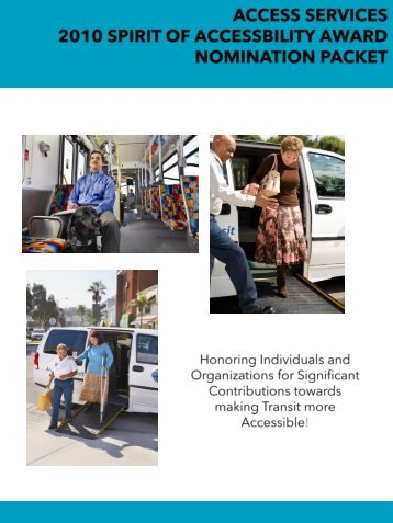 access services 2010 spirit of accessbility award nomination packet
