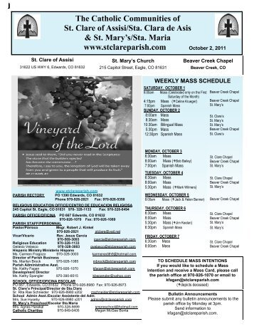 October 3, 2011 - St. Clare of Assisi Parish