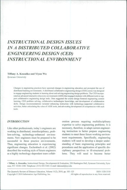Instructional Design Issues Ina Distributed Anitacrawley Net
