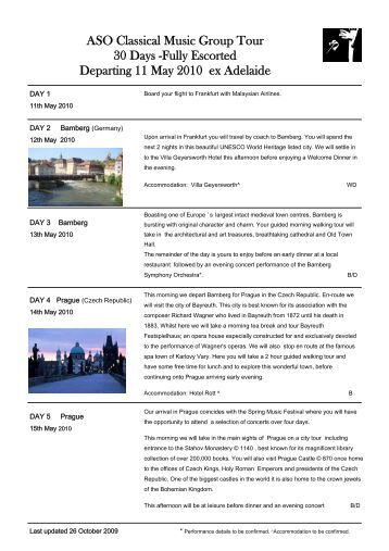 Classical Group Tour 2010 Amended itinerary 26Oct09