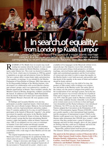 In Search of Equality: From London to Kuala Lumpur - Musawah