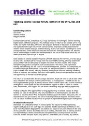 Teaching science : Issues for EAL learners in the EYFS ... - NALDIC
