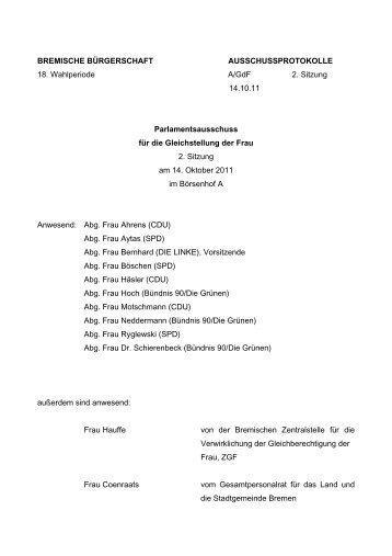 Protokoll der 2. Sitzung (pdf, 46.5 KB) - Gleichstellungsausschuss