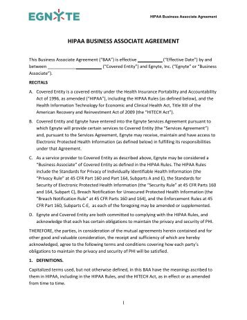 Download Egnyte HIPAA Business Associate Agreement
