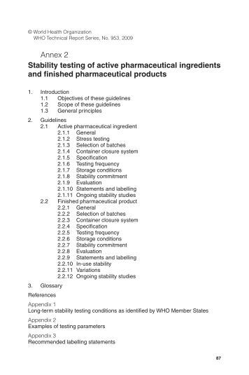 Stability testing of active pharmaceutical ingredients and finished ...