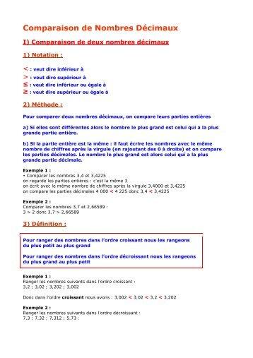 6e - Comparaison de Nombres Décimaux - Parfenoff . org