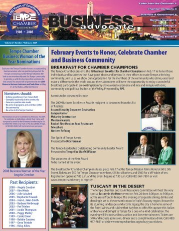 The Business Advocate February 2009 - Tempe Chamber of ...