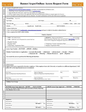 Banner User Access Request Form