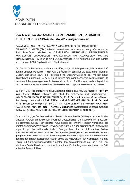 Vier Mediziner der AGAPLESION FRANKFURTER DIAKONIE ...