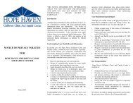 Notice of Privacy Policies - Hope Haven Children's Clinic And ...