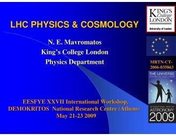 LHC PHYSICS & COSMOLOGY
