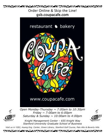 Full Menu - Coupa Cafe
