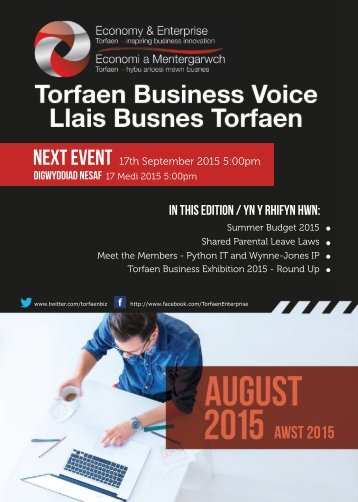 Torfaen Business Voice - August 2015 Newsletter
