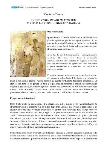 Elisabetta Vezzosi UN INCONTRO MANCATO, MA ... - Meno di Zero