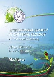 2012 Program (PDF) - International Society of Chemical Ecology
