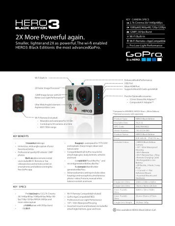 GoPro HERO3 Black Edition Data Sheet PDF - in-visible.lu