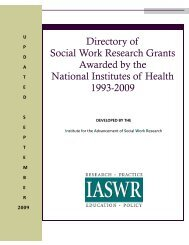Updated September 2009 - Social Work Policy Institute