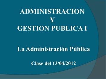 administracion y gestion publica i - Departamento Ciencias de la ...