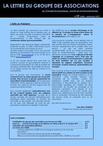 LA LETTRE DU GROUPE DES ASSOCIATIONS - CPCA