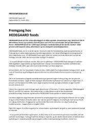 Fremgang hos HEDEGAARD foods