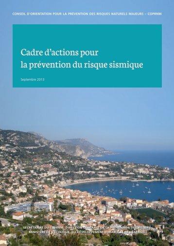 Cadre d'actions pour la prévention du risque sismique - Catalogue