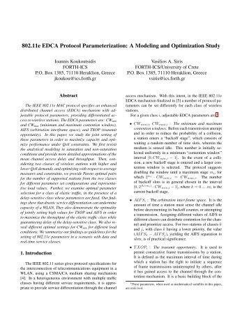 802.11e EDCA Protocol Parameterization: A Modeling and ...
