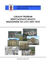 lokalny program rewitalizacji miasta mszczonów na lata 2007-2015