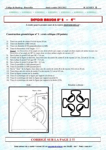 DEVOIR MAISON N° 2 – 4ème - CAPES de Maths