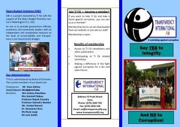 Brochure - TI Fiji overview - Transparency International Fiji