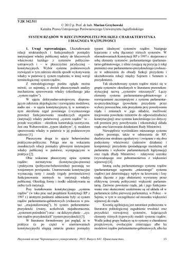 УДК 342.511 © 2012 р. Prof. dr hab. Marian Grzybowski Katedra ...
